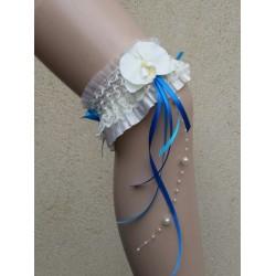 jarretière thème orchidée bleue et ivoire