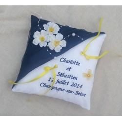 coussin alliance fleur bleu nuit et jaune