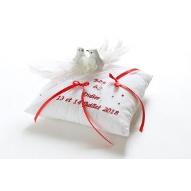 Coussin mariage colombes rouge et blanc