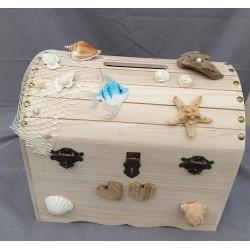 Grande Urne coffre bois mariage thème voyage